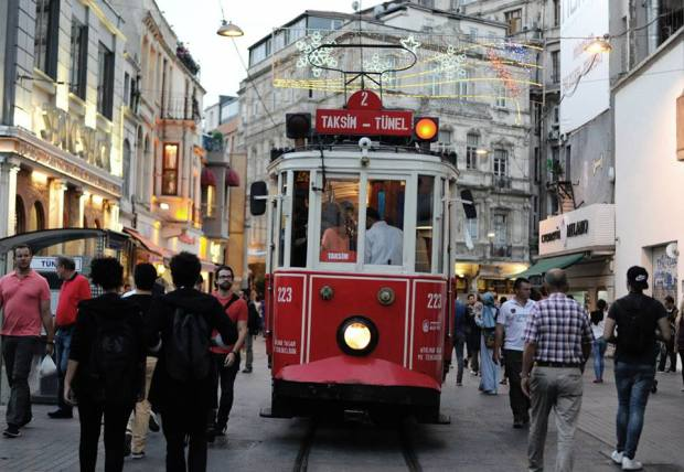 The heritage tram on Istiklal Avenue